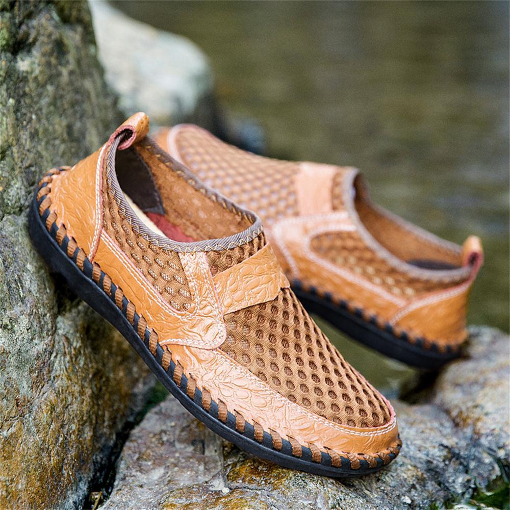 2019 Summer Big Size Men's Net Shoes Sandals Breathable Men Business Casual Shoes Fashion Driver Shoes 1