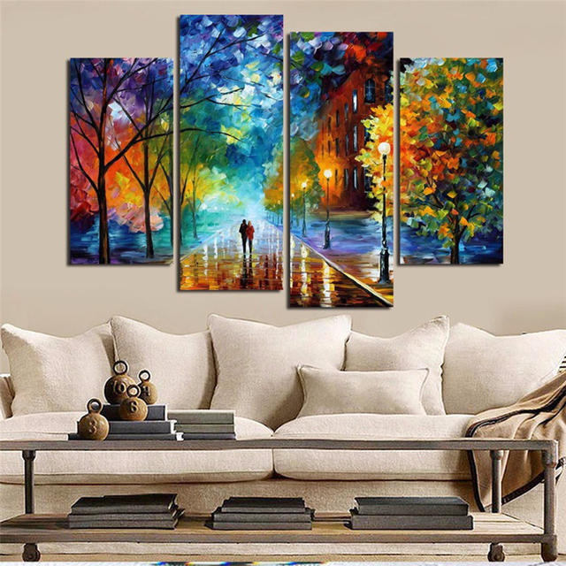 Decoration Posters Framework Living Room HD Printed 4 Panel Walking In The Quiet Street Modern Wall Art Pictures Home Painting