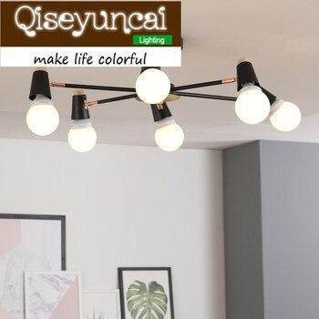 Qiseyuncai Simple post-moderne 6/8 tête plafonnier créatif en bois massif fer éclairage livraison gratuite