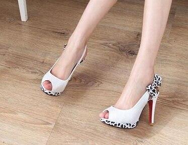Hauts Chaussures Arc Femmes D'été 62 Peep forme Pompes Noeud Talons rouge Wsh565 Eu26 Toe Sandales blanc Plate Léopard Noir qc7O46wI