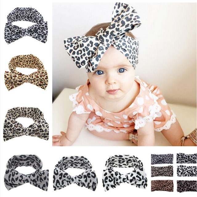 304dcb80d1 200PCS LOT Wholesale Girls leopard print Bow Headband Turban Headwrap Top  Knot Headband Girls Hair