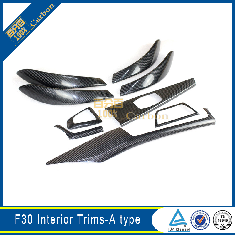 For BMW 3 Series F30 Carbon Fiber Interior Trims Mouldings Cover 9pcs Put on model image