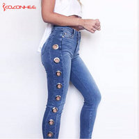 Plus Size Elastic Side Hole Jeans For Women With High Waist Stretching Jeans Skinny Pencil Trousers For Women big size #113