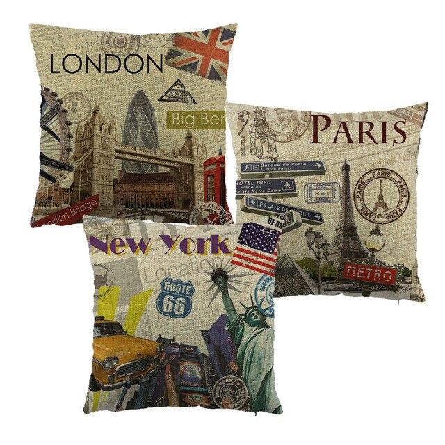 Город стиль лондон/париж/НОВЫЙ YOUK напечатаны чехлы белье/полиэстер бросьте наволочку подушки для дома диван