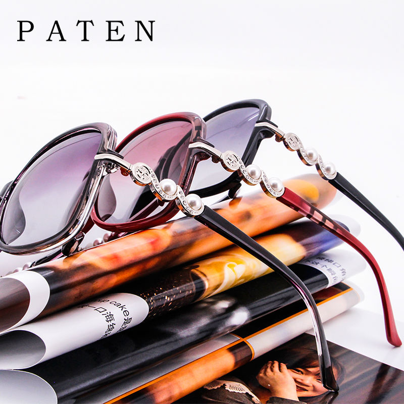 discount butterfly plastic frame glasses with gradient lens cheap designer elegant paten sunglasses with pearls and diamonds