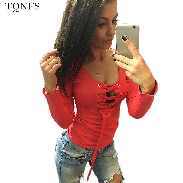 TQNFS Fashion Tee Shirt Femme Long Sleeve  Bandage Shirts O Neck Casual T Shirt  Women Solid Hollow Out Camisetas Feminina