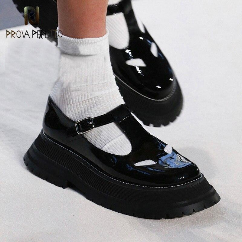 Prova Perfetto genuíno Sapatos Mocassim de Couro Mulher T-alça de Dedo Do Pé Redondo Grossos Sapatos Único Fundo de Moda Mary Jane Sapatos Para As Meninas