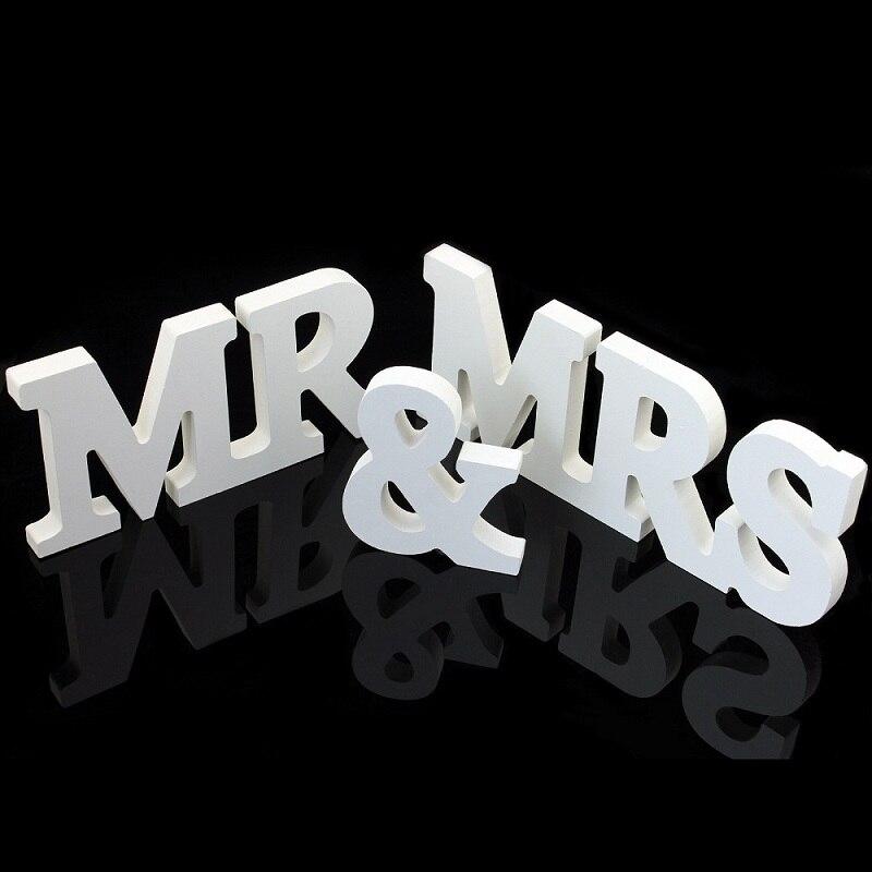 Свадебные Приём знак Mr & Mrs Твердые Деревянные Письма Таблица центральным украшением