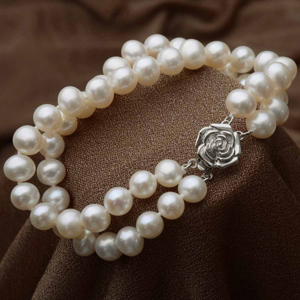 Topearl Jóias 7-8mm Off-Round White Pearl Duplo Strand Pulseira 925 Sterling Silver Flower Fecho 7.5 Polegada B11219