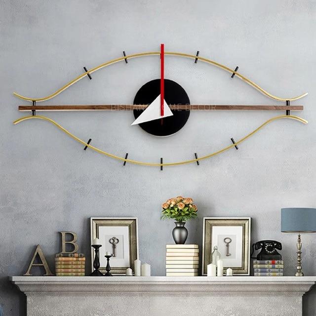 ثلاثية الأبعاد وجه واحد الخشب ساعة حائط الديكور الصامت الحديثة تصميم العين ساعة الكوارتز حامل ساعة حائط s الفن ساعة حائط العتيقة