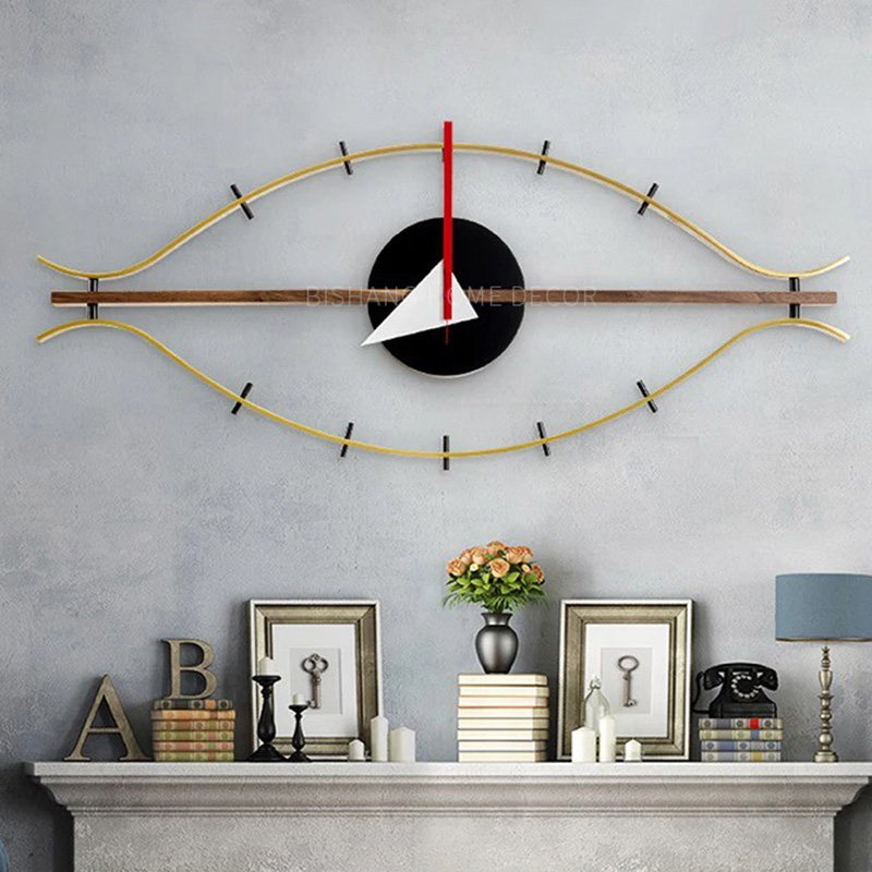3d single face wood wall clock decoration silent modern design Eye Clock Quartz holder wall clocks art wall clock antique-in Wall Clocks from Home & Garden    3