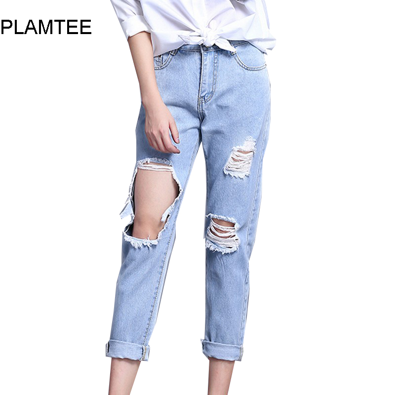 Boyfriend Hole Ripped Jeans Women Cool Low Waist Denim Harem Jean For Female 2017 Spring Vintage Ankle-Length Pantalon Femme boyfriend jeans women ankle length washed denim summer vintage hole ripped letter embroidery harem pants female casual streetwea
