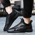 Zapatos de Los Hombres de Moda de invierno de Camuflaje Hombres Casua Pisos Otoño Respirable con cordones de Los Hombres Zapatos Planos De Piel Negro Zapatos Hombre