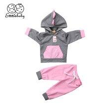 Bebê Recém-nascido Menina Camisolas Definir Sólida Bolso Com Capuz Tops Calças Outfits Outono Inverno Crianças Traje 3D Dinossauro Camisola