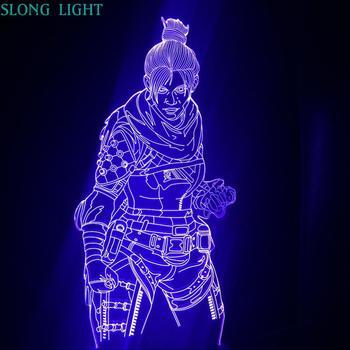Apex Legends Wraith figura luz de noche LED 3D Battle Royale dormitorio Decoración Luz niños amigo cumpleaños regalo lámpara de mesa Luz nocturna