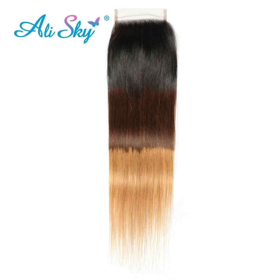Али Небесно волосы с эффектом деграде (переход от 3 Связки с закрытием 12-28 1B/4/27 бразильские прямые волосы пучки с закрытием бесплатная часть Реми человеческие волосы переплетения