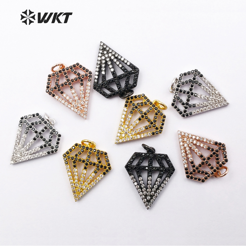WT-MP007 Wholesale New Arrived Custom Mirco Pated Cubic Zirconia Brick Shape Pendant With 24K Gold Electroplated Fashion Jewelry