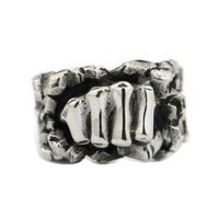 USA Located Handmade 925 Sterling Silver Powerful Fist Breaking Stone Mens Biker Ring TA77 4PX