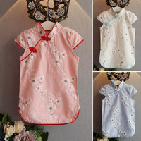 Children Baby Girl Dress Chinese Style Stand Collar Short Sleeve Cheongsam Summer 2016 Costume Casual Clothes