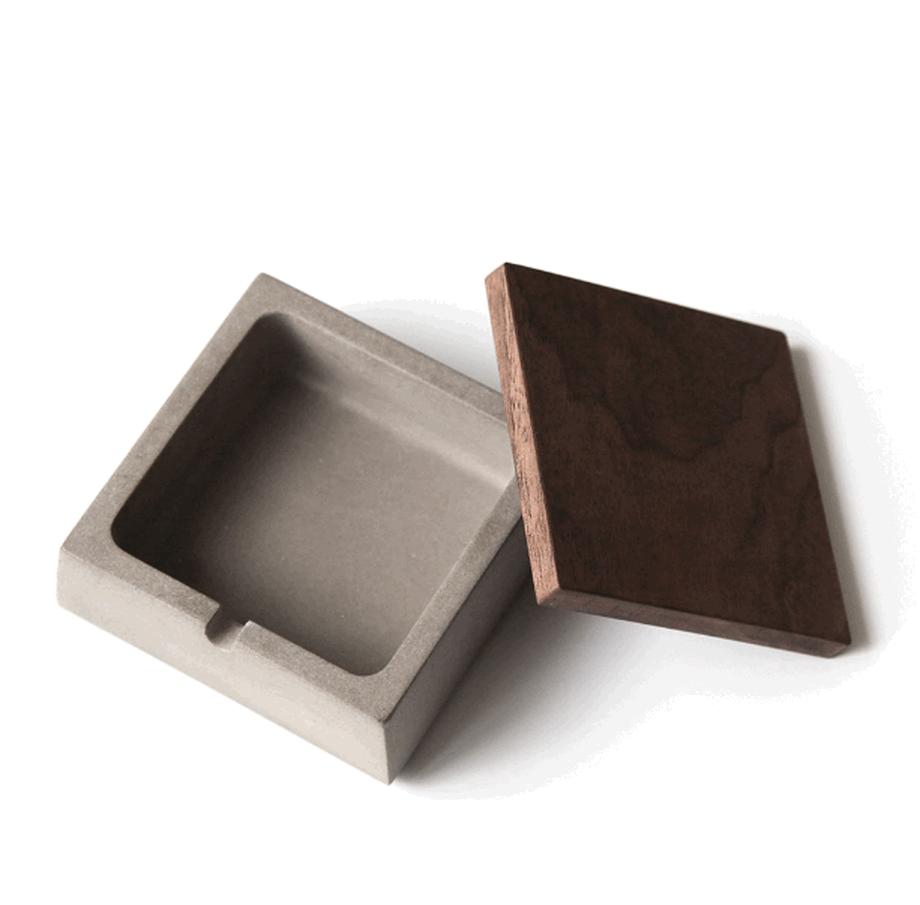 Creative Cement Ashtray Industrial Wind Water Concrete Ashtray Wooden Lid Personality Fashion Desktop Decorative AshtrayLFB429