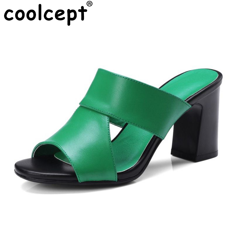 Coolcept Mature Women Real Genuine Leather High Heel Sandals Open Toe Thick Heel Slipper Summer Vacation Club Shoe Size 34-39 крем для тела elizavecca массажный крем для тела milky piggy k o cream объем 100 мл
