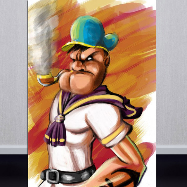 hand made oil painting popeye the sailor man art on canvas mike