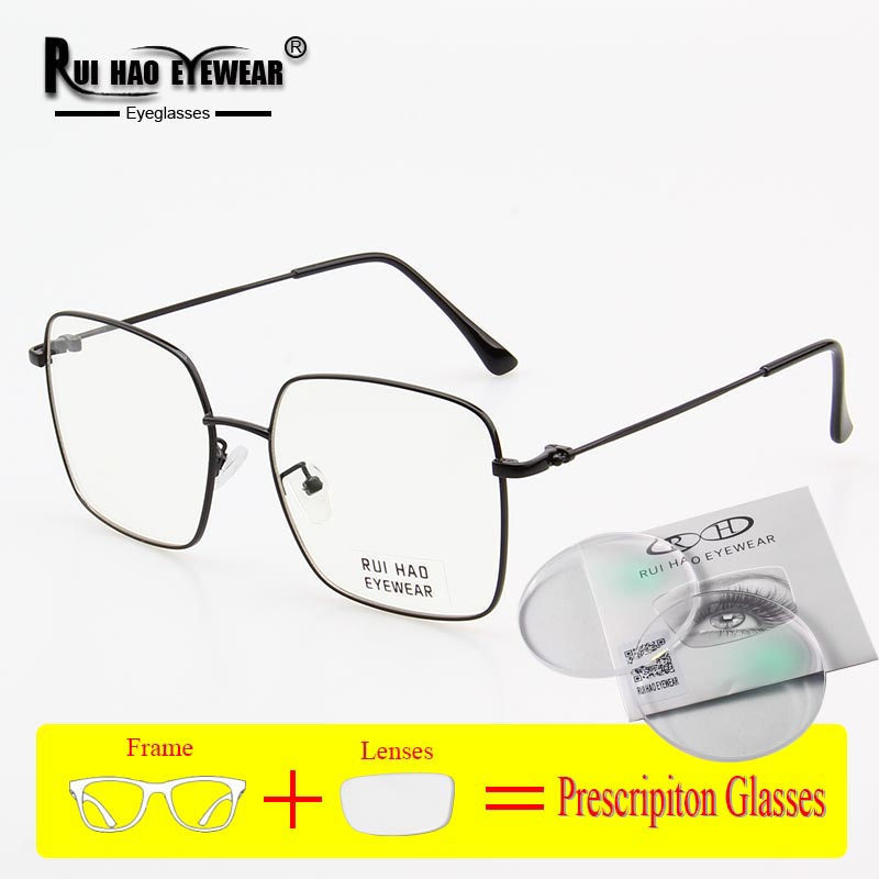 Square Prescription Eyeglasses Men Women Glasses Frame Unisex Fashion Design Optical Glasses Myopia Resin Lenses Spectacles
