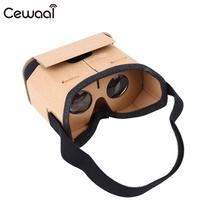 Cewaal Professional Mobile Phone Goggles Cardboard VR Box 3D Virtual Reality Glasses Lens Protector Brown Gift