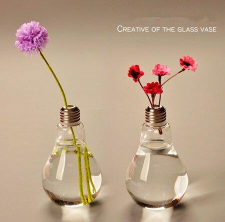 New Arrive Light bulb transparent glass vase modern fashion hydroponic flower vase decoration vase