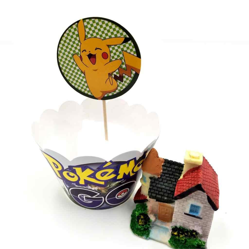 24 Pcs Pokemon Pikachu Pembungkus Cupcake Dekorasi Pesta Pernikahan Nikmat Cup Cake Toppers Pilihan Perlengkapan