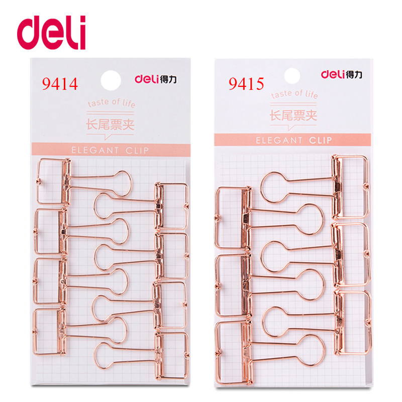 Deli Pure Color Rose Gold Hollowed Out  Binder Clip For Office School Paper Organizer Stationery Supply Decorative Metal Clips