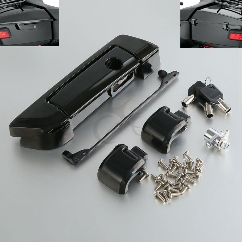 все цены на Chrome Black Tour Pak Pack Trunk Latch for Harley Touring Road King Street Glide Electra Ultra-Classic FLHT FLHX 14-18 17 16