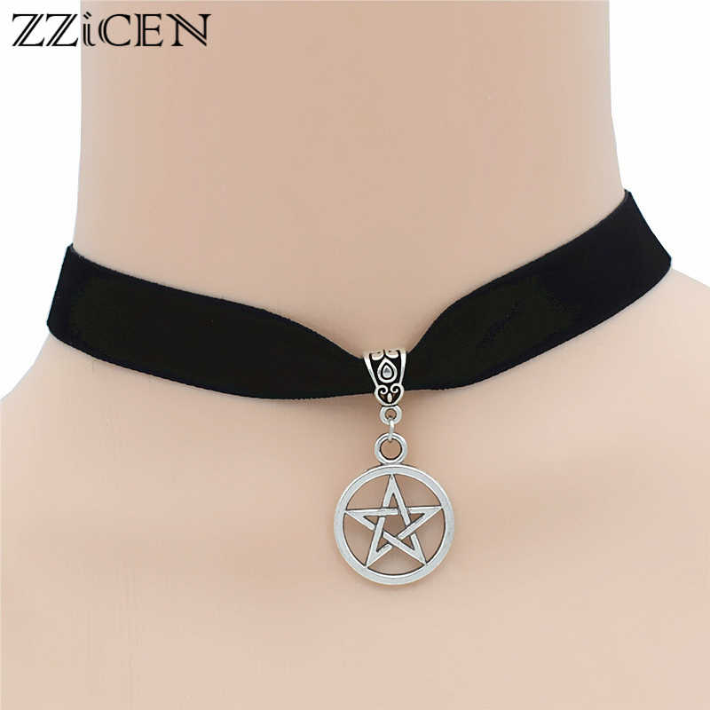 pentacle jewelry,wiccan jewelry,witch jewelry,pagan,choker necklace,black choker,gift,handmade suede choker, Pentagram choker