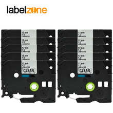 10pcs Black on Clear Tze131 Compatible Brother 12mm*8m Tze-131 Tze 131 Tape Laminated Ribbon Cassette for P-touch Printer