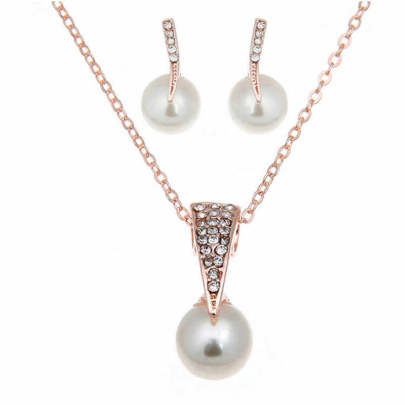 The Korean Version Of Pearl Chain Set Fine Droplets Imitation Pearl Set Bride Full  Necklace Earrings Set With Accessorie