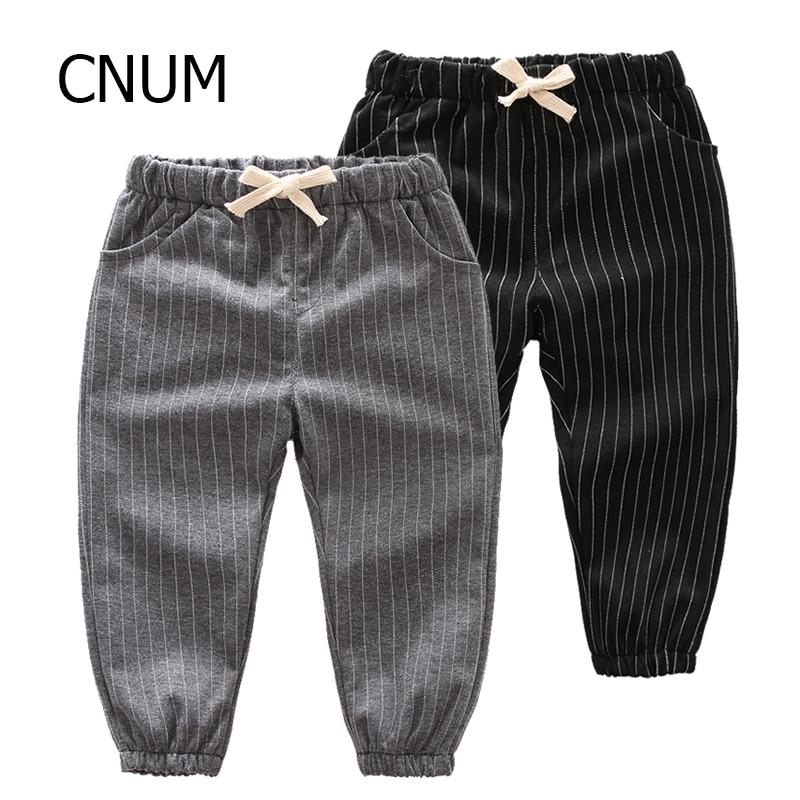 CNUM Children Boys Pants Designs Young Girls School Pants Stretch Kids Cloth Boys Pants Autumn Cotton Long Striped Years Trouser
