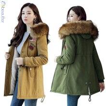 ENbeautter Very Warm Women's Winter Coat Winter Jacket Female Long Parkas Jacket Lining Cotton Padded Winter Outerwear Overcoat