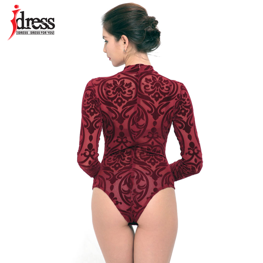 IDress 2017 New Arrival BlackBlue Red Macacao Feminino Mesh Shorts Femme Playsuit Overalls for Woman Long Sleeve Sexy Bodysuit (1)