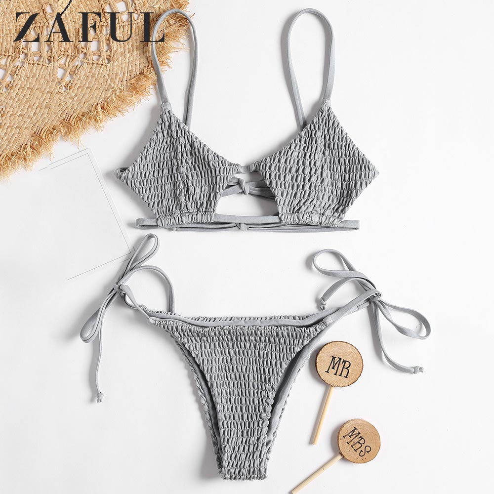 ZAFUL Bikini Bralette Smocked String Bikini Swimwear Drawstring Spaghetti Straps Low Waisted Swim Suit Bra Grey Bathing Suit