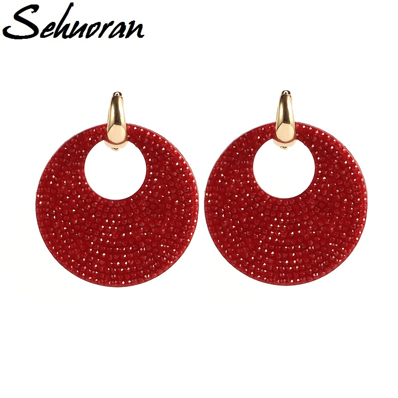 Sehuoran 2017New earrings brincos big drop panjang earrings untuk wanita Putaran tembaga dengan resin pendientes pernyataan anting