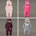 A roupa do bebê Outono Inverno Macacão de bebê meninas Hoodies do Velo meninos Macacão de bebê romper do bebê recém-nascido roupas toddle
