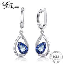 f00cc0da9455 JewelryPalace de 1.7ct Topacio azul cielo Natural pendientes de Clip  pendientes largos aretes pendientes para mujer