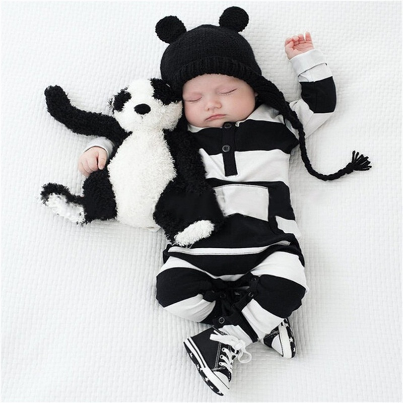 Baby Boys Girls Romper 2018 New Spring Autumn Striped Thin Cotton Full Sleeve Warm Clothing Body for Baby Working Clothes 4rr074