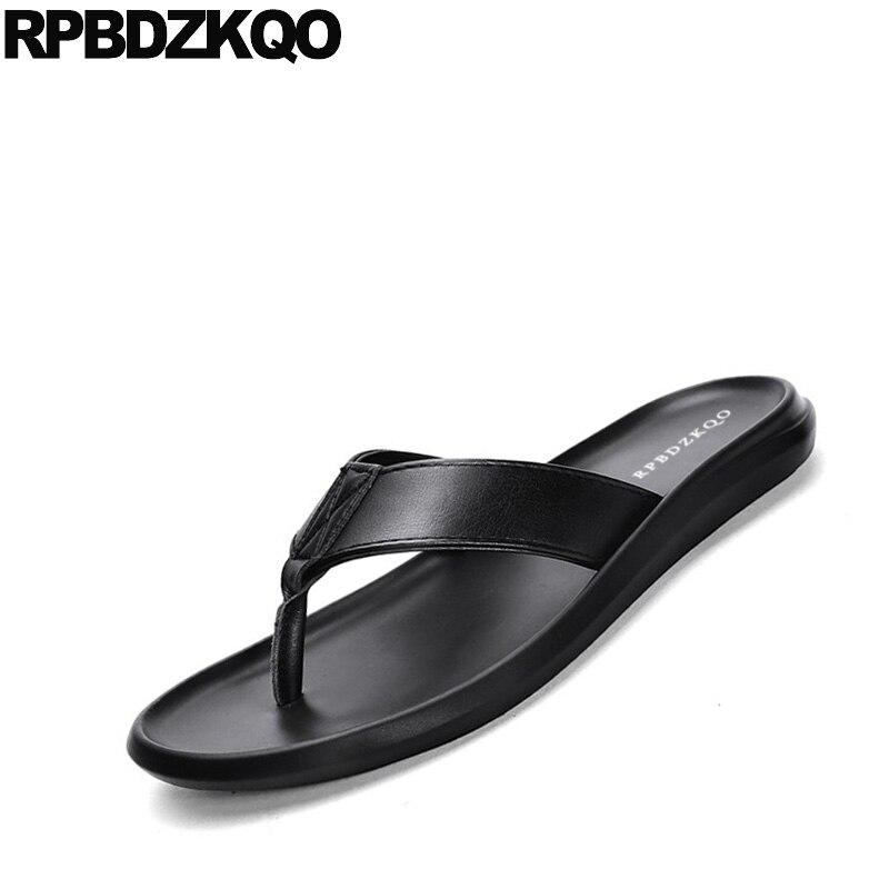 Diapositive pattini del progettista degli uomini di alta qualità nero a strisce di marca famosa nativo pistoni di estate genuino sandali di cuoio di vibrazione flop morbido - 4