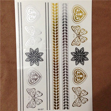 1 Sheet Jewelry Gold FlashTatoo Metallic Temporary Tattoos Bracelets Necklaces Stickers Anchor Butterfly Feather Tattoo