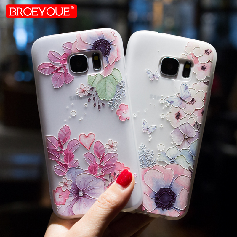 BROEYOUE Case For Samsung Galaxy <font><b>J3</b></font> J5 J7 2017 Pro A3 A5 A7 A8 <font><b>2016</b></font> 2017 2018 3D Relief Case Cover For <font><b>Samsug</b></font> S7 Edge S8 S9 Plus image