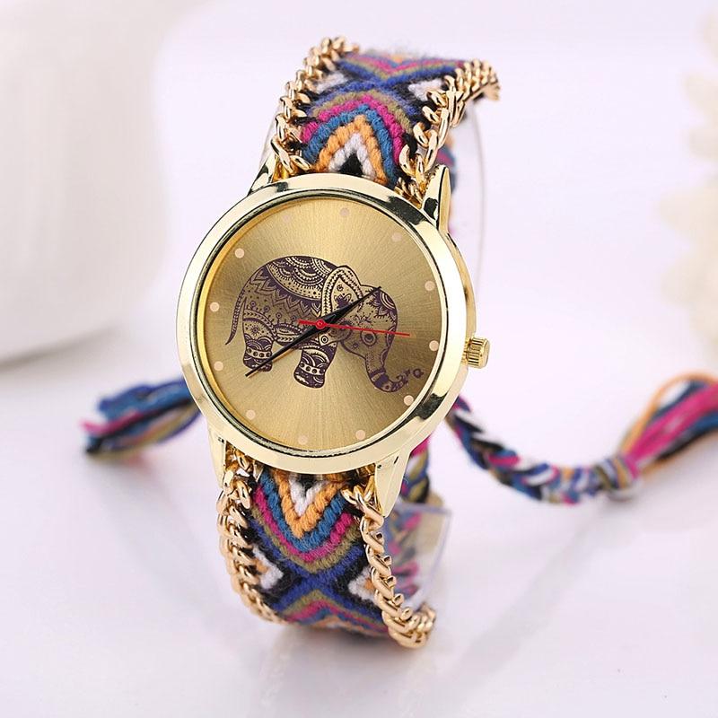 Fabric Band Wristwatches Watches Women 2019 Fashion Women Clock Elephant Pattern Weaved Rope Band Bracelet Quartz Bracelet Watch