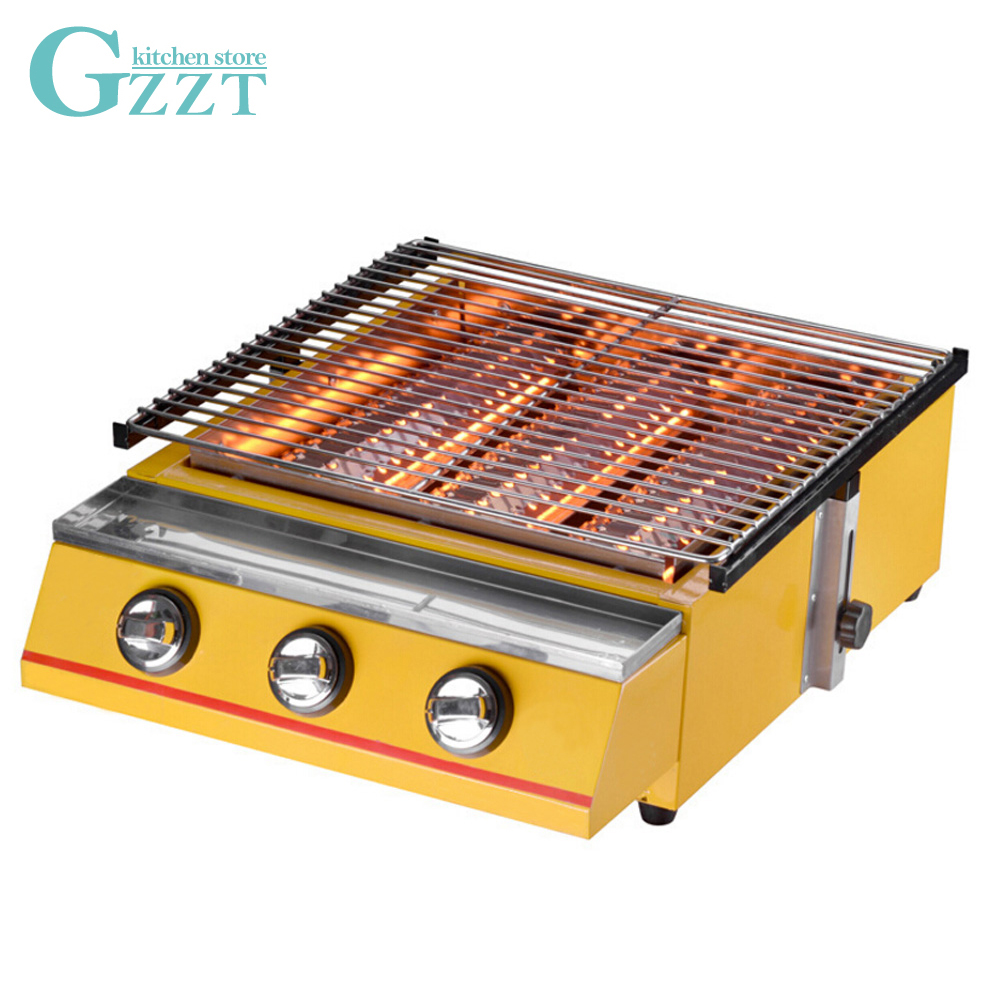 BBQ Grill Yellow Large-size 3 Burner BBQ Gas Grill Glass Shield or Steel Shield Household Commercial Outdoor Grill 450*425mmSize