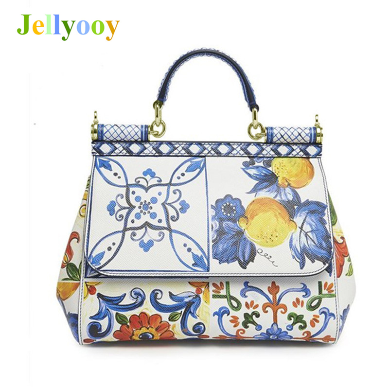 Luxury Italy Brands Sicily Elegant Lady Bag Fruit Flower Print Tote Handbags Genuine Leather Women White Messenger Shoulder Bags luxury italy brand sicily ethnic bag genuine leather women casual tote platinum bags star moon print lady shoulder messenger bag