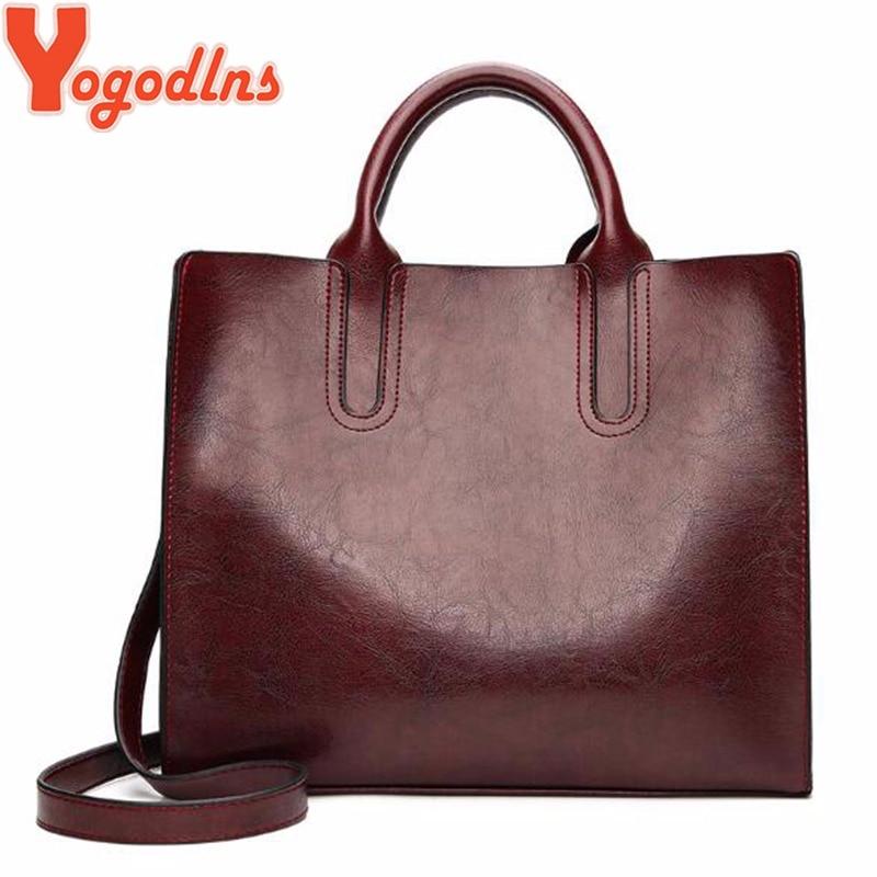 33b48a765baab Yogodlns خمر النساء حقيبة يد فاخرة النفط الشمع حقيبة كتف جلدية pu عارضة حمل  كبيرة حقائب